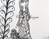 Adult Coloring Page Art Deco Poodle and Lady Digital Download