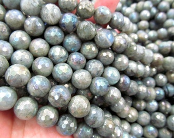 4-16mm 16inch Mystic Coated Labradorite Beads / AB Coated Faceted Round Labradorite Beads Gemstone Beads