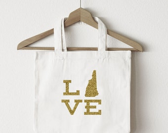 Love New Hampshire tote bag/custom tote/market bag/canvas shopping bag/state tote/market tote/ reuseable bag/ New Hampshire state bag/ gold