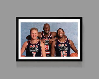 Michael Jordan, Magic Johnson, Larry Bird - Dream Team Sports Poster Basketball Print - Inspirational, Motivation, gift