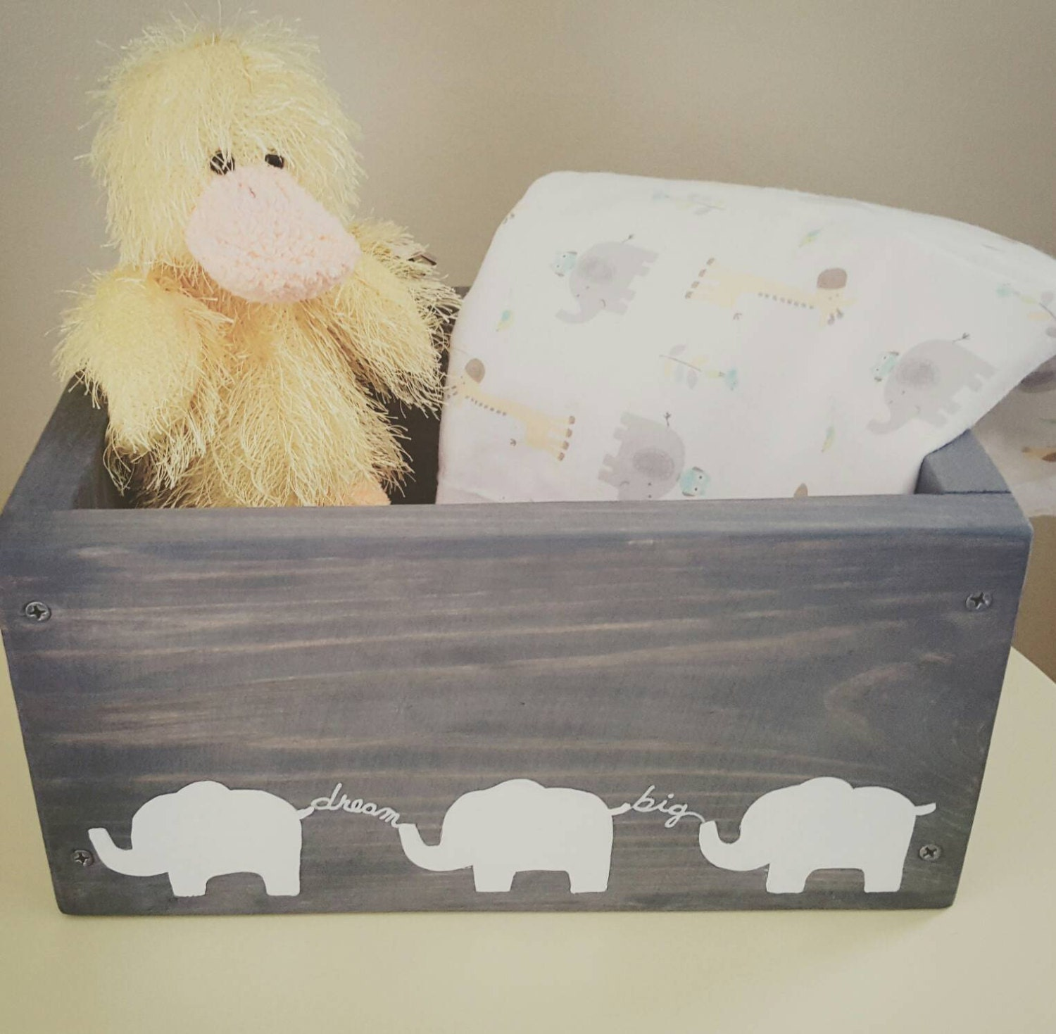 Baby Bedroom In A Box Special: Elephant Nursery Decor Unisex Baby Gift Box Diaper Wipe