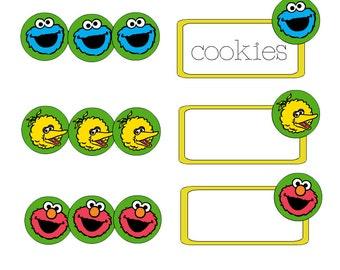 Elmo Food labels, Sesame Street Food Labels, sesame street birthday, elmo birthday