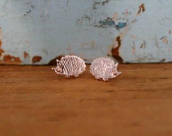 Delicate Rose Gold Plated Hedgehog Earrings | Dainty Hedge Hog Jewelry | Tiny Animal Jewelry