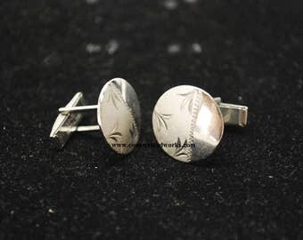 Vintage Silver Tone Disk Cuff Links - Set of 2
