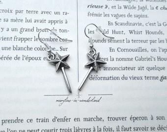 Earrings silver metal wand