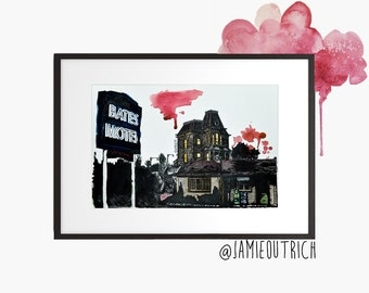 Bates Motel, Psycho, Watercolor Print