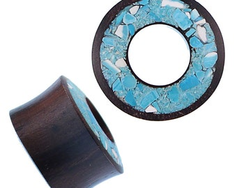 Wood tunnel Sonoholz hand carved crushed turquoise inlay tribal wood tunnel plug Expander (HPT-172)