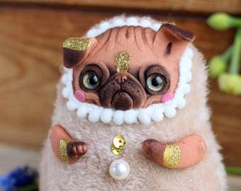 pug doll art dog doll collectible pug toy dog sculpture pug figurine polymer clay