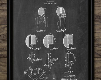 Fencing Mask Patent Print - 1944 Fencing Mask Design - Rapier - Épée - Sabre - Swordsmanship - Single Print #2264 - INSTANT DOWNLOAD