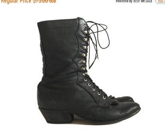 LAREDO BOOTS / tall black leather boots / witchy black boots / womens western boots / Lace Up Laredo Boots 6.5