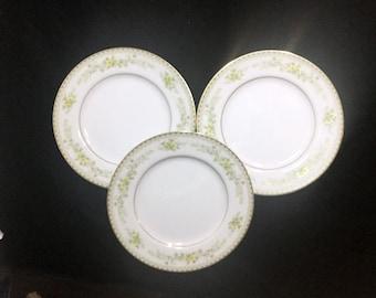 Mikasa Greenbriar L2014 3 Salad Plates  Fine China Japan Yellow Flowers