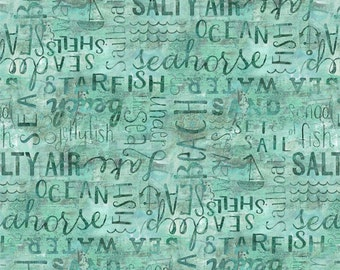 Word Texture (Aqua) Fabric Fat Quarter, Third Yard, Half Yard, or By-The-Yard; Under the Ocean Blue; 1897 54518 477; Wilmington Prints