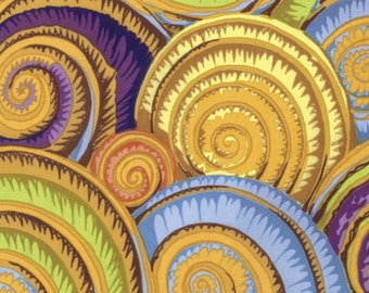 1/2 Yard Spiral Shells in Gold Philip Jacobs  fabric  PJ073