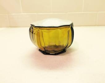 Vintage Amber Glass Vanity Jar Powder Jar Dresser Jar Trinket Box Celluloid Lid