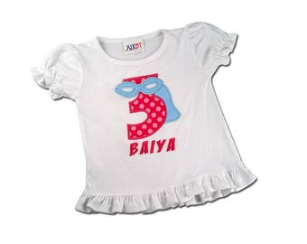 Girl Superhero Birthday Shirt with Pink Number and Embroidered Name