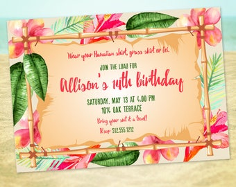 Hawaiian birthday invitation, printable, Luau party, Beach party, Tropical, Hawaii, Island birthday, Hibiscus
