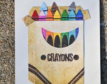 preschool teacher gift, gift for daycare provider, original art, crayon art, preschool classroom art, gift for art teacher, playroom decor