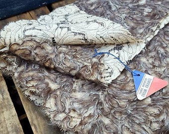 Vintage French Luxury Fabric, Mohair On Lace, 36 by 34 inches