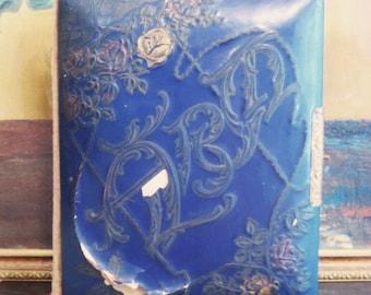 Vintage Victorian Colbalt Blue Celluloid Photo Album with CDV Photos