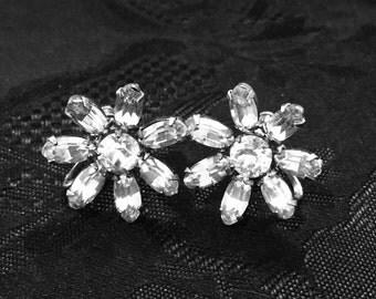 Antique sterling silver Czech crystal screw back earrings