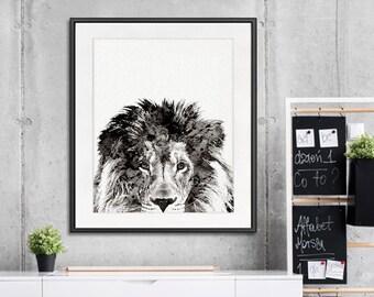 Black lion print, black white art, black print, black white decor, african art, animal art, animal print, jungle art, jungle print  - B1