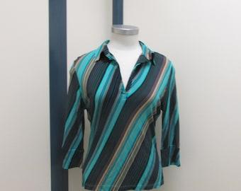 Striped blouse, strpey blouse, diagonal striped blouse,