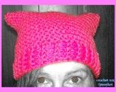Pink Pussycat hats, Pussyhat Project March hat, #pussyhat kitty ear hat, crochet cat hat, cat ear hat, #pussyhatproject