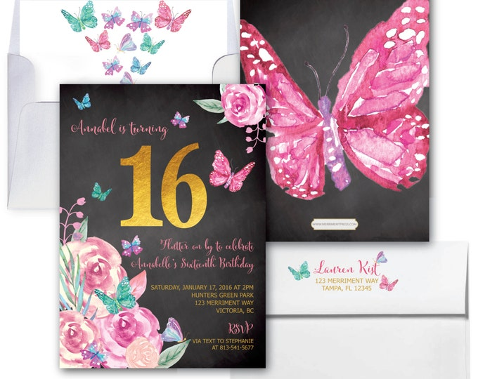 Butterfly Sixteenth Birthday Invitation // Butterflies // Sweet Sixteen // 16 // Butterfly // Floral // Watercolor // VICTORIA COLLECTION