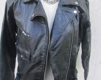 Vintage 80s Black Leather Motor Cycle Jacket