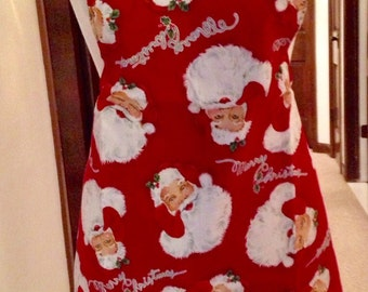 Santa apron / Thanksgiving on the back / a pocket on the Santa side /  come with Santa travel bag free