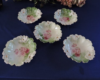 RS Prussia Hand Painted Fruit Bowls in Mold 25 Iris. Set of 5