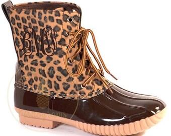 Monogrammed Cheetah Duck Boots