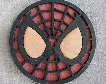Spider-Man Face Wood Coaster | Rustic/Vintage | Hand Stained and Glued | Comic Book Gift | Spiderman