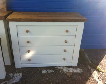Chunky rustic chest of four drawers painted