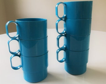 Vintage blue plastic stacking coffee cups - 7 in all