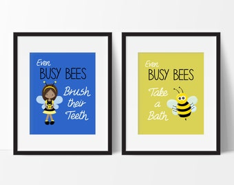 Girls Bathroom Decor - Busy Bee Bathroom - Bathroom Rules - Bumble Bee - Bee Bathroom - Little Girls Bathroom - Sisters Bathroom - Set of 2