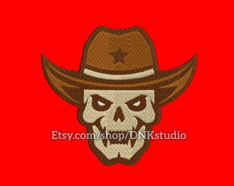 Sheriff Cowboy Skull Embroidery Design - 6 Sizes - INSTANT DOWNLOAD
