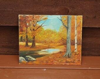 Forest View Painting Canvas, Autumn Landscape Painting, Small Acrylic Landscape Painting, Shelf Sized Painting, Cottage Art