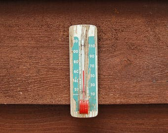 Old Wall Thermometer, Vintage Wood Back Thermometer, Chipping Paint