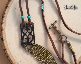 Turquoise necklace- Traditional design, Tribal necklace, turquise, long necklace, chain necklace, one of a kind, handmade