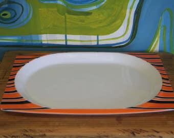 Retro 60s-70s  Funky Retro Bessemer Europa Square Melamine Plate / Bright Orange Plastic Plate /  BBQ Plate / Made in Australia