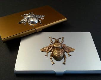 Silver Business Card Holder - Credit Card Holder - Business Card Case - Credit Card Case - Bee Accessories - Bee Jewelry - Bee Handbag
