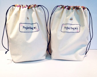 Project Bag Set of Two| Cinzia's Project Bag| Knitters Project Bag| Crochet Project Bag| Drawstring Bag |