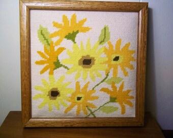 Vintage Needlepoint of Flowers - Framed