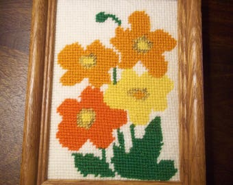 Small Needlepoint of Flowers - Vintage - Framed