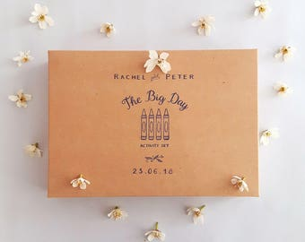 Personalised Wedding Favour Boxes // Personalisation of Wedding Activity Pack Boxes // Bride & Groom's Names and Wedding Date Added