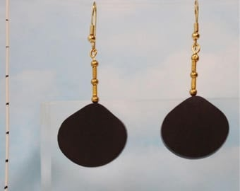 Asymmetric dangle drop earrings in ebony (612)