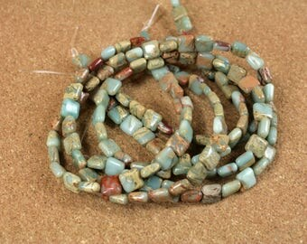 Aqua Terra Jasper Square Beads - Teal and Tan Smooth Natural Stone Beads, 8mm, 16 inch strand