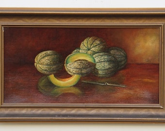 "Antique Cantaloupe Melon Fruit Oil Painting small size 6"" X 12"" Fine Art Painting Still Life"