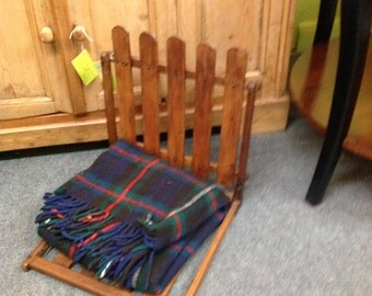 Vintage Wooden Canoe Seat with Blanket